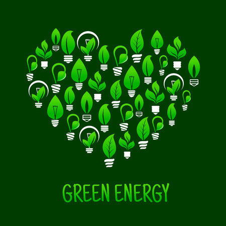 think up: Saving energy ecological concept icon with symbol of heart made up of light bulbs with green plants. Use as think green concept or t-shirt print design Illustration