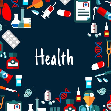 einlauf: Medizinischer Hintergrund mit Text Gesundheit umrahmt von flachen Ikonen der Arzt, Medikamente und Laborröhrchen, Spritzen, medizinische Untersuchung Formen und Lungen, Krücken und Einlauf, DNA-Helices und Zellen Illustration
