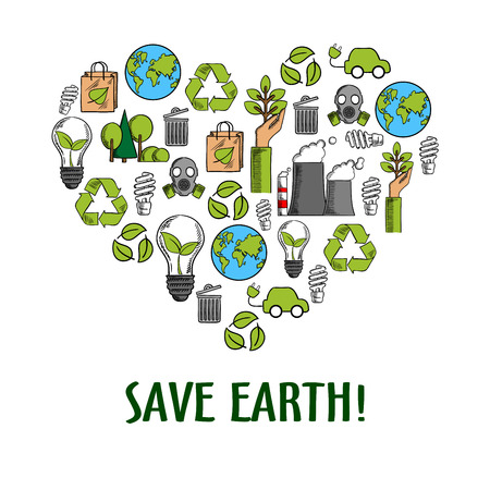 recycling symbols: Eco friendly heart icon with colored sketches of light bulbs with green leaves, recycling symbols and paper bags, hands with plants and earth globes, trees, electric cars, fuming pipes and gas masks