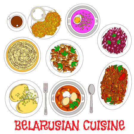 casserole: Main dishes of belarusian dinner icon with sketched potato pancakes, chicken chowder and potatoes with sour cream, potato and bell pepper stews, cream potato casserole, cold beet soup and red cabbage salad, served with coffee