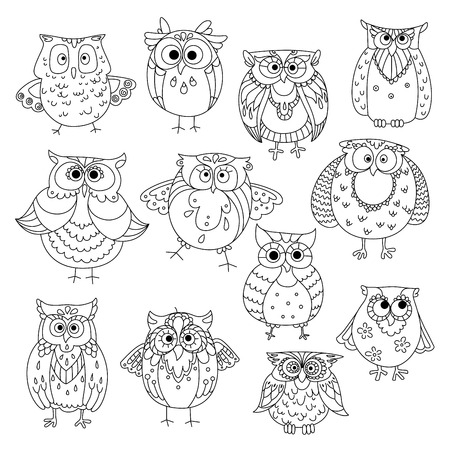 Decorative sketches of cute owls with young owlets, wise horned owls and funny barn owls, adorned by fluffy feather patterns, wavy lines and flowers. May be use as t-shirt print or wisdom symbol design Illustration