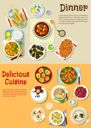 casserole: Delicious dishes for weekend menu icon with garlic chicken legs and grilled corn, tofu pasta, pork and apple salads, bread casserole, potato stew and stuffed peppers, fried artichoke and mussel soup, cake, tartlets and fresh berries Illustration