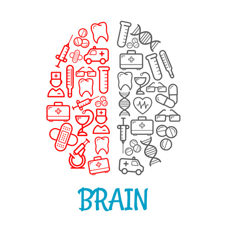 dna test: Medical icons shaped as human brain for healthcare symbol design with red and gray sketches of pills, syringes, first aid kits and thermometers, doctors, ambulances, hearts and teeth, test tubes, DNA, glasses and plasters