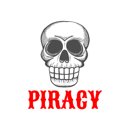 piracy: Halloween mascot of wicked pirate skull of angry dead guard of pirate treasure. Sketch symbol for tattoo or piracy theme design usage