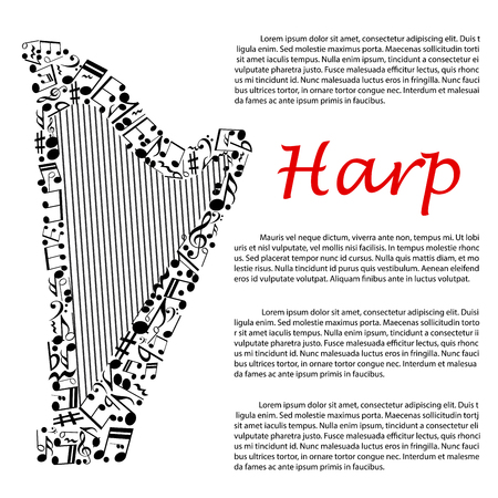signatures: Modern concert harp symbol composed of musical notes and key signatures, treble and bass clefs for music infographics design usage with editable text layout Illustration