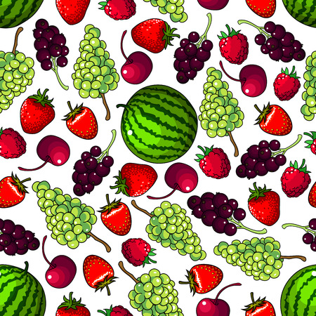 Juicy sweet green grapes and striped watermelons, red strawberries and raspberries, cherries and blackcurrants fruits seamless pattern on white background. Organic farming and gardening theme design