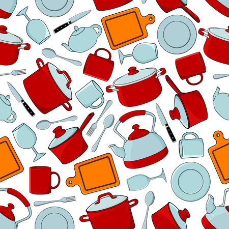 dinnerware: Seamless cooking utensils and dinnerware, silverware and glassware pattern background with red cooking pots and saucepans with lids, dinner plates, spoons and forks, knives and cutting boards, teapots, cups and wineglasses