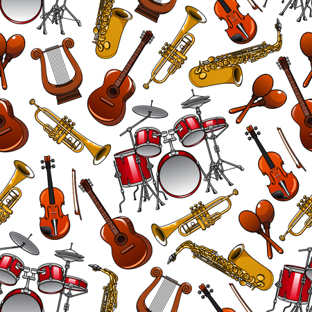 musical event: Cartoon shining brass trumpets and saxophones, orchestra drum sets, violins and guitars, vintage greek lyres and mexican maracas seamless pattern on white background. Arts and musical event design