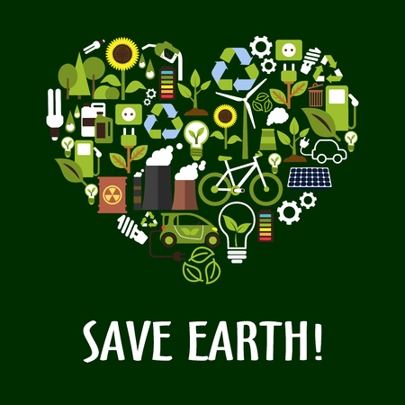 Heart symbol made up of flat eco icons such as green energy, bio fuel and electric cars, recycling and save energy light bulbs with green leaves, trees and flowers, solar panels, wind turbine and bicycle, industrial pollution and radioactive waste Illustration