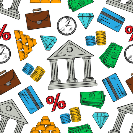 interest rate: Financial, banking and business pattern with seamless background of money bills and coins, gold bars and bank credit cards, diamonds and bank buildings, interest rate symbols, clocks and briefcases
