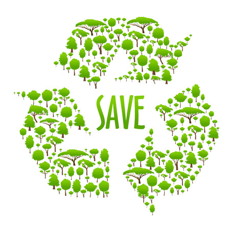 save as: Recycling icon with caption Save in the center of three chasing arrows, composed of green trees. Use as ecological concept or save earth theme design