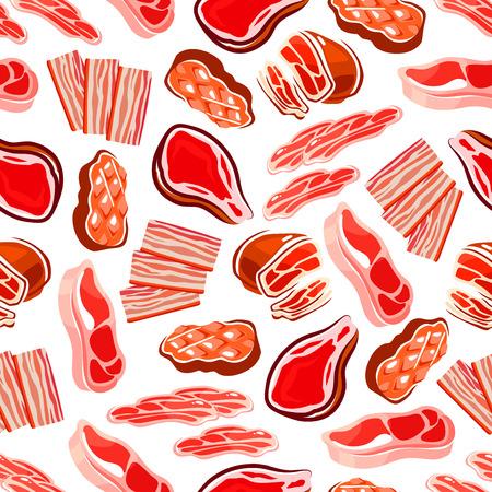 Gerookt, gegrild en gebakken vleesgerechten achtergrond met naadloze patroon van rundvlees biefstuk en varkenshaas, dunne strepen spek en prosciutto, ham en ham. Gebruik als voedsel packaging design