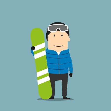 sports activity: Cartoon smiling snowboarder character in winter ski sportswear, helmet and goggles standing with bright green snowboard in hand. Winter outdoor activity, extreme sports and healthy lifestyle themes design Illustration
