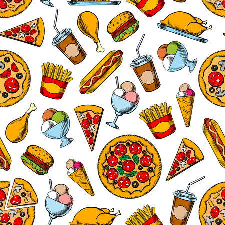 pepperoni pizza: Seamless retro sketches of fast food dishes pattern background with hamburgers, hot dogs and coffee cups, pepperoni pizza, french fries and fried chicken, ice cream cones and sundae desserts Illustration