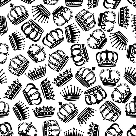 monarchy: Black and white seamless medieval victorian crowns pattern background for monarchy theme or jewelry concept design with royal headwear ornated by fleur-de-lis and floral ornaments, pearl and diamond inlaying