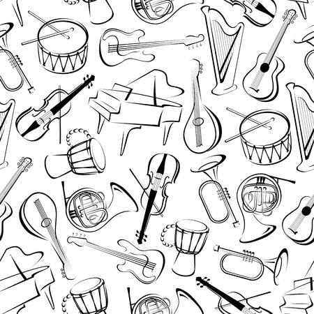 musical event: Outlined musical instruments background for musical event or orchestra themes design with black and white seamless pattern of grand pianos, drums and guitars, trumpets, horns and violins, harps and mandolins