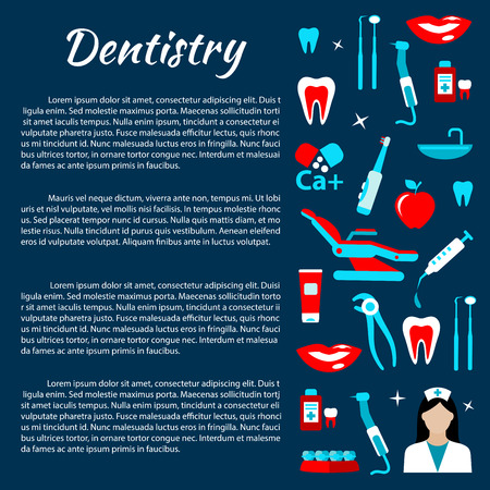 smiles teeth: Dentist office and dental treatments infographics design template with row of dentist tools and chair, doctor, healthy teeth and smiles, toothpastes and toothbrushes, braces, vitamins and mouthwashes flat icons and copy space for your text