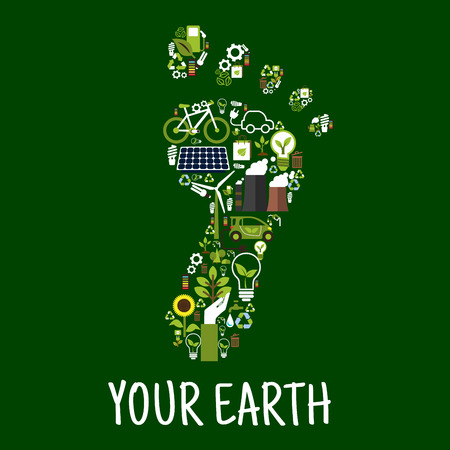 Go green concept symbol of footprint with flat icons of saving energy and recycling signs, light bulbs with leaves, bicycle and electric cars, trees, flowers and plants, solar panel, wind turbine and bio fuel, paper bags and batteries. Environment respons Illustration