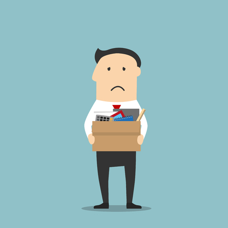 rejection sad: Disappointed jobless cartoon businessman is carrying a cardboard box with personal belongings, leaving office after being fired. Use as unemployment, financial crisis and depression theme design