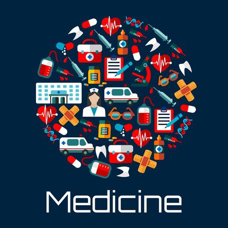 simbolo medicina: Edificio del hospital, médico y ambulancias, equipos de primeros auxilios, frascos de medicamentos y jeringas, los corazones, los dientes y las bolsas de sangre, microscopios y el ADN, las formas de reconocimiento médico y gafas de iconos que crean un símbolo del círculo. estilo plano