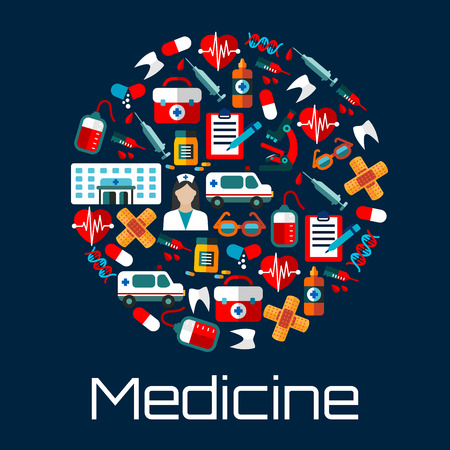 medicine bottles: Hospital building, doctor and ambulances, first aid kits, medicine bottles and syringes, hearts, teeth and blood bags, microscopes and DNA, medical examination forms and glasses icons creating a circle symbol. Flat style