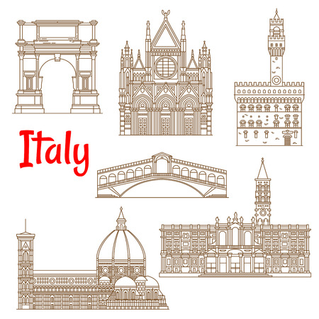 Renaissance architecture and ancient monuments of Italy icons in thin line style. Church of Santa Maria Maggiore and Siena Cathedral, Cathedral of Saint Mary of the Flower and Palazzo Vecchio, Arch of Titus and Rialto Bridge. Summer vacation planning and  Illustration