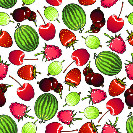 flavorful: Seamless flavorful berries pattern background with forest strawberries and raspberries, sweet cherries and black currants, green striped watermelons and gooseberries. Greengrocery market or kitchen interior design usage