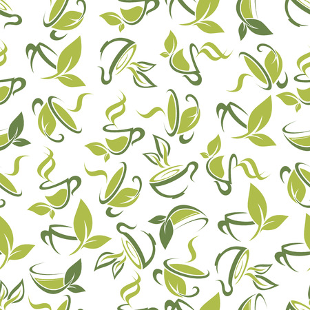 wholesome: Seamless background of wholesome herbal tea beverages for kitchen interior design with abstract pattern of floral cups made up of green leaves and sprouts