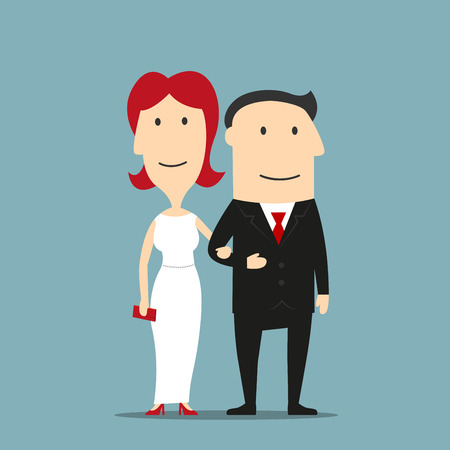 romantic woman: Happy couple of man in black formal suit and redhead woman in white evening dress with red high heels and clutch are standing arm in arm. Romantic date or evening out design usage