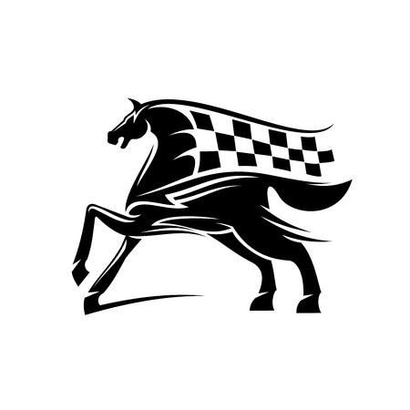 ornated: Speed and power racehorse pawing foreleg black silhouette with flowing mane and tail in a shape of race flag ornated by tribal ornamental elements. Use as motorsport badge or equestrian theme design Illustration