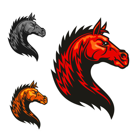 mane: Powerful tribal stallion cartoon symbol for motorsport theme or equestrian club badge design with red horse profile with wavy fur and mane like fire flames