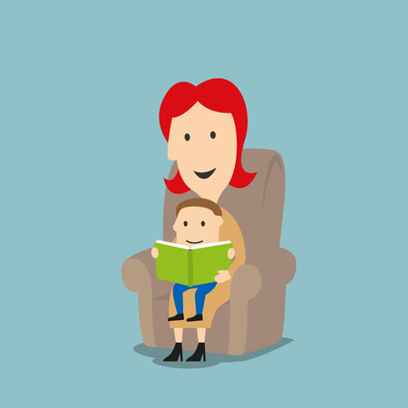 story time: Family reading or story time concept design. Cartoon mother reading to little son a book with fairytale stories