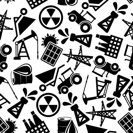 barrel tile: Black and white seamless energy industry and power resources pattern background with silhouettes of solar panels and nuclear plants, pump jacks, oil barrels and pump derricks, power line poles, wheelbarrows and tractors