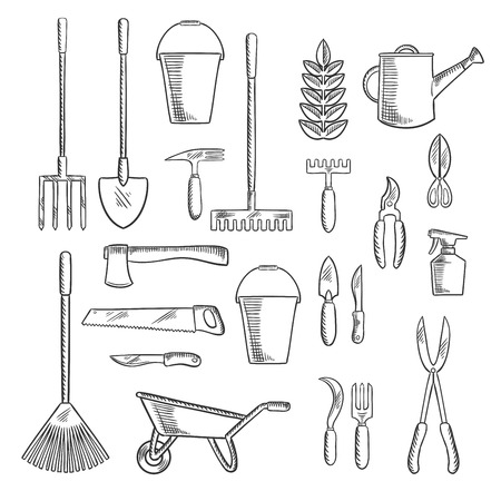 rakes: Watering can and plant with gardening hand tools sketches of rakes, shovel, axe and saw, spading fork, wheelbarrow and buckets, trowel, forks, knives and shears, pruners and sprayer