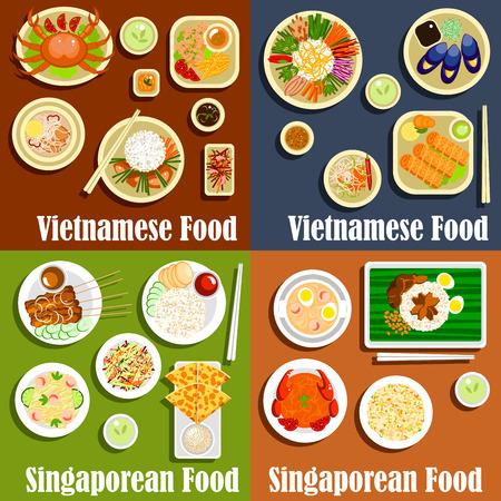 comidas saludables: cocina nacional vietnamita y Singapur. Ensalada y carne a la parrilla, arroz sano y comidas sabrosas de fideos con salsa y los ingredientes picantes. Pollo asiático y roti prata, semillas de sésamo y chili cangrejo