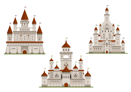 spires: Medieval royal castle or fort, palace or stronghold with towers and archs, gates and flags on spires. Cartoon flat style buildings isolated on white for fairytale, history or childish books design