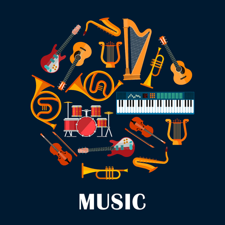 Music instruments or sound equipment. Electric and acoustic guitars, drum kit or trap set and violin, saxophone and lyre, synthesizer and trumpet. Brass, string, woodwind, percussion