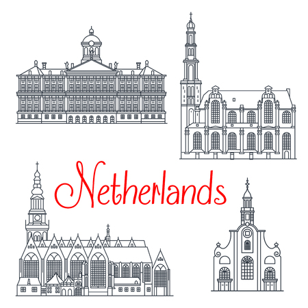 Historical and memorable travel landmark icons of Netherlands. Dutch royal palace in Amsterdam and oude kerk old church, Westerkerk and the old or pilgrim fathers church