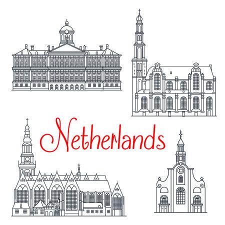 Iconos de viaje de la señal históricos y memorables de Países Bajos. palacio real holandesa en Ámsterdam y Oude Kerk antigua iglesia, la iglesia Westerkerk y padres de edad o peregrino Foto de archivo - 66210259