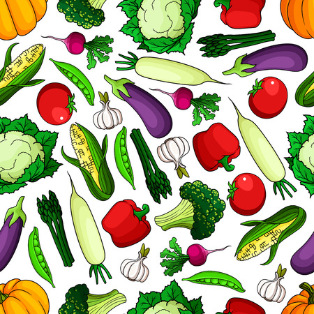 pumpkin tomato: Ripe and healthy farm vegetables seamless pattern. Tomato and radish, pumpkin and bell pepper, pea pod, garlic and corn cob, cabbage, broccoli, asparagus and daikon. Agriculture and vegetarian theme