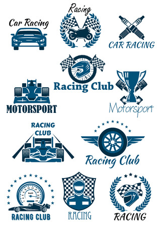motorsport: Isolated icons and emblems for racing and motorsport. Cars and racing club, laurel wreath leaves with motorbike and helmet with checkered flag, winner cup or bowl and wheel, speedometer and driver Illustration
