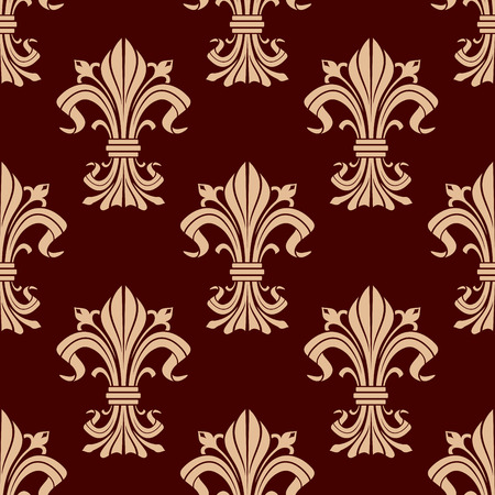 Flourish seamless pattern of beige fleur-de-lis ornamental elements in brown and maroon colors. Textile, interior or royal heraldic themes design