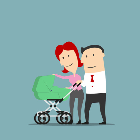 buggy: Father and mother smiling over baby carriage or buggy. Dad and mom couple with pram as cartoon characters. Conception of marriage and relationship, parents and child Illustration