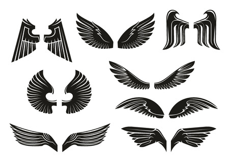 dreamland: Black heraldic wings set in tribal style for tattoo and book, heraldry or religious design isolated on white. Vintage or retro birds and angel wings Illustration