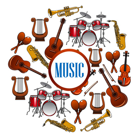 woodwind: Collection of sound equipment or music instruments . Trap set or drum kit, acoustic guitars and violin,lyre and saxophone, trumpet.  Woodwind, string, brass, percussion used in jazz, rock, pop, disco. Musical art