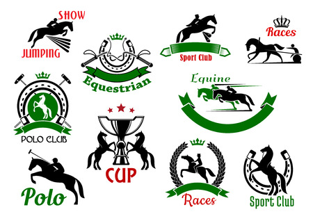 show jumping: Equestrian or horse racing sport icons. Banners and badges of horse and rider silhouettes jumping over fence or barrier, whips under crown and rearing horses with trophy cup, polo sport club and horseshoe Illustration