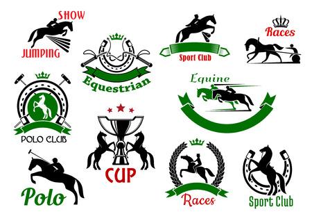 salto de valla: iconos deportivos de caballo o carreras de caballos. Banderas e insignias de siluetas del caballo y jinete que saltan sobre la cerca o barrera, látigos bajo la corona y la cría de caballos con la taza del trofeo, club de deporte del polo y la herradura Vectores