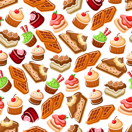 confectionery: Confectionery and pastry, bakery seamless pattern. Cakes with cream and belgian waffles, cookies and biscuits with strawberry and cherry, Cafe and bakery themes.