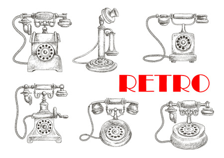 telephones: Sketch of retro or vintage telephones with rotary dial and old candlestick, earphone and switchhook. Obsolete and classic technology for communication and talking connected by wire via landline