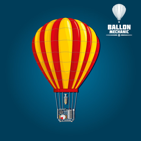 adventure aeronautical: Hot air balloon with stripped envelope isolated on blue. Detailed mechanics of nylon or dacron envelope, parachute vent and burner, fuel tank and its heating process